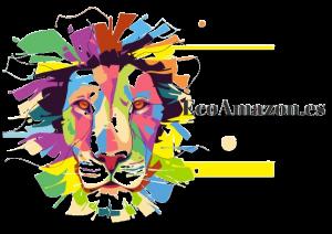 EcoAmazon LEON LOGO transparente ecologico sostenible melena multicolor mirada frontal solo cabeza
