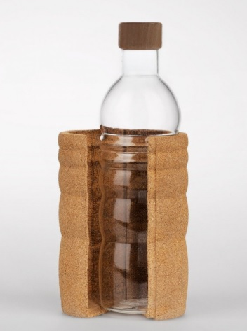 Botella 500ml Crsital y Corcho abierto sostenible ecológico sostenible ecoamazon natural