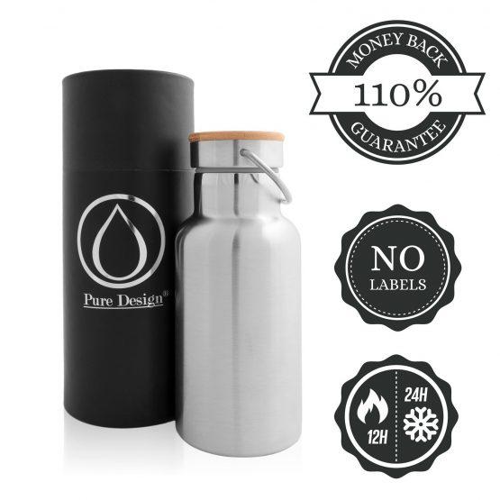 Botella METAL diseño ecológico sostenible ecoamazon natural reciclable
