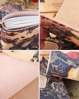 Cuaderno Viajero CUERO Genuino ATLAS composite ecológico sostenible btc bitcoin papel