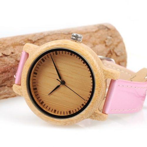 Reloj BAMBÚ y CUERO Rosa ejemplo bitcoin pulsera tiempo sostenible