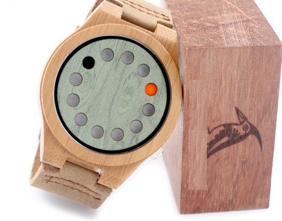 Reloj BAMBÚ y CUERO original piel ecológico dash litecoin sostenible