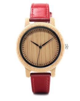 Reloj BAMBÚ y CUERO Rojo frontal bitcoin ecológico sostenible amazon
