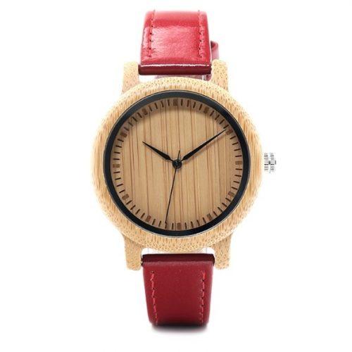 Reloj BAMBÚ y CUERO Rojo
